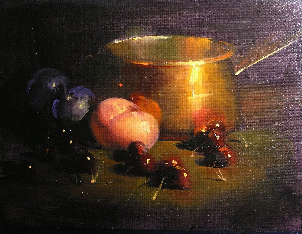 Copper with Cherries, by Carol Tarzier