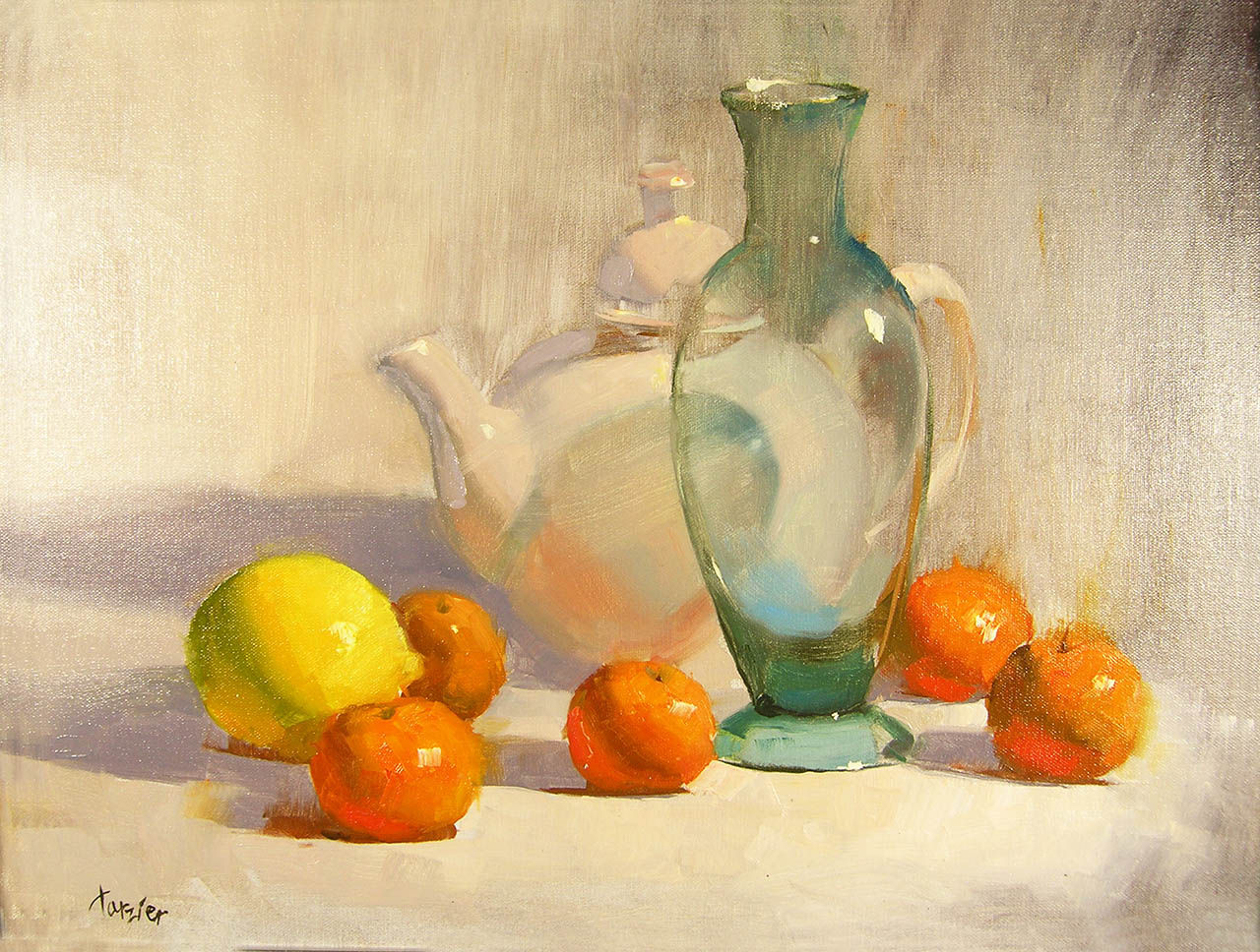 Tangerines and Transparent Blue, by Carol Tarzier