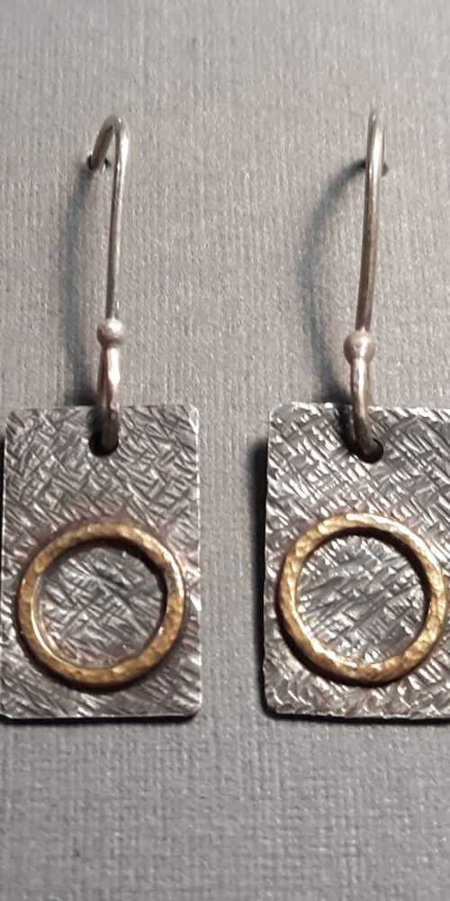 """Silver & Brass Earrings"" by Karen Chesna"